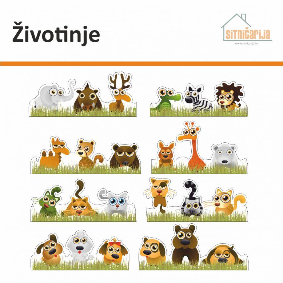 Naljepnice za utičnice i prekidače - Životinje; set od 8 naljepnica sa po 3 različite životinje na svakoj naljepnici