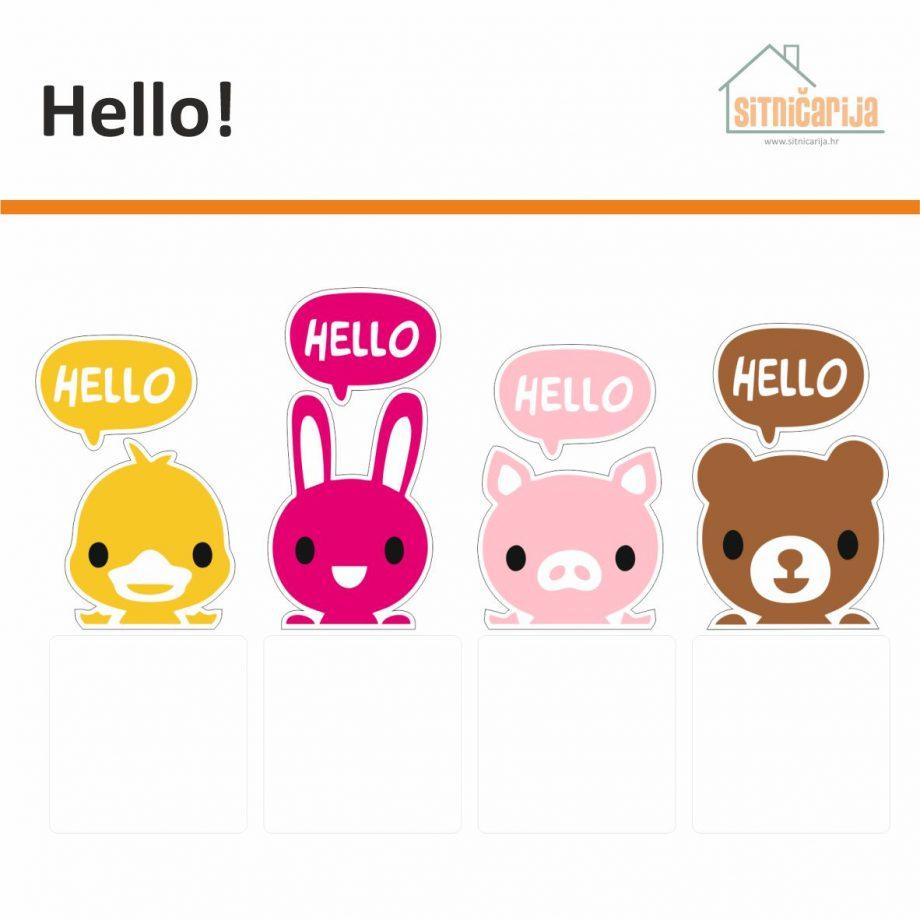 Naljepnice za utičnice i prekidače - Hello; set od 4 naljepnice na koji su pačić, zeko, praščić i medo koji kažu Hello, svaka životinja je druge boje