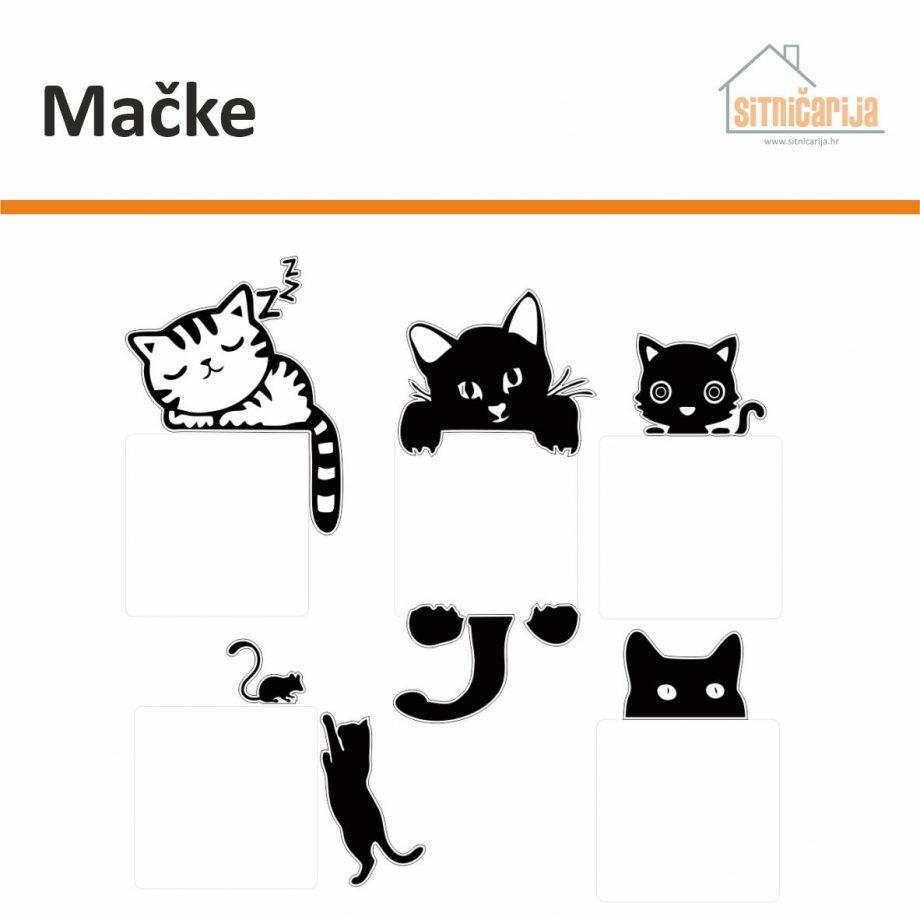 Naljepnice za utičnice i prekidače - Mačke; set od 5 crno-bijelih naljepnica mačaka