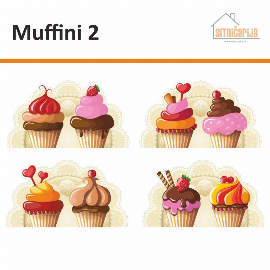Naljepnice za utičnice i prekidače - Muffini 2; set od 4 naljepnice sa po dva muffina na svakoj. Muffini su ukrašeni kremama i dekoracijama