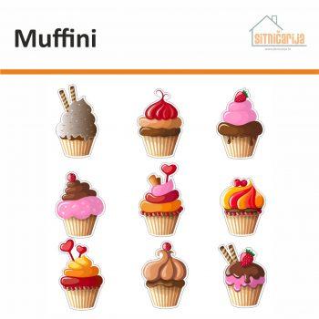 Naljepnice za utičnice i prekidače - Muffini; set od 9 naljepnica u obliku muffina s različitim kremama i dekoracijama