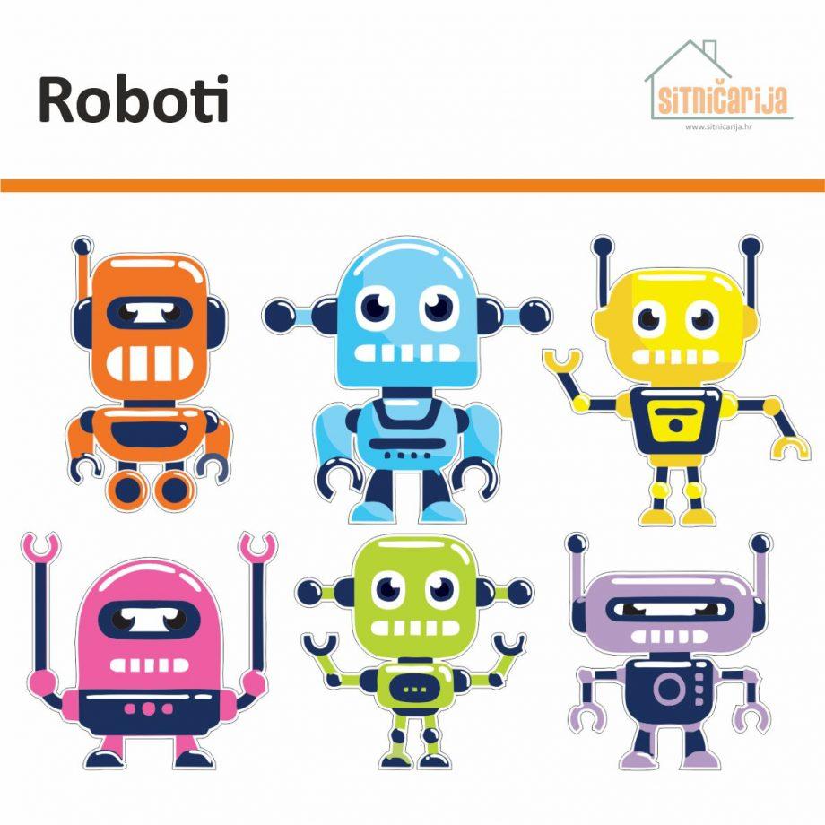 Naljepnice za utičnice i prekidače - Roboti, set od 6 naljepnica u obliku robota, svaki robot je drugog oblika i boje