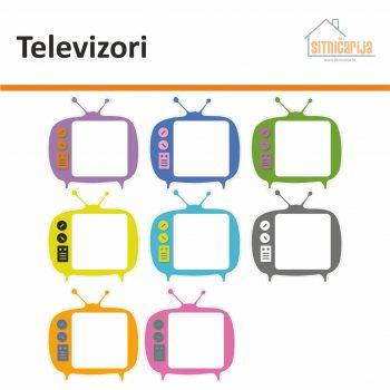Naljepnice za utičnice i prekidače - Televizori; set od 8 televizora različitih boja koje se lijepe oko utičnica ili prekidača