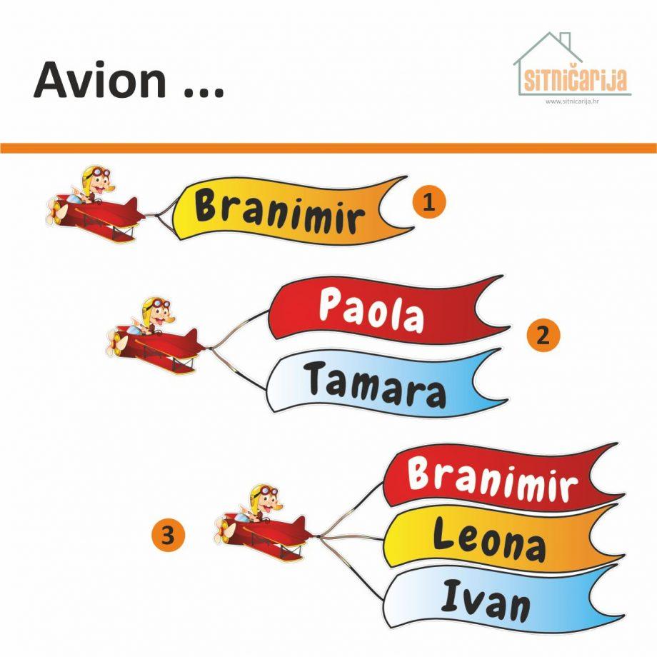 Naljepnice za vrata - Avion; serija od 3 naljepnice u obliku aviona koji vuče transparente s imenima djece