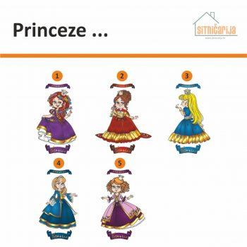 Naljepnica za vrata u obliku 6 princeza - uz svaku se veže jedno ime