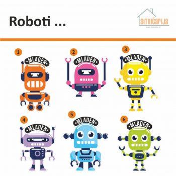 Naljepnice za vrata sa 6 slika robota, a uz svaku se veže jedno ime