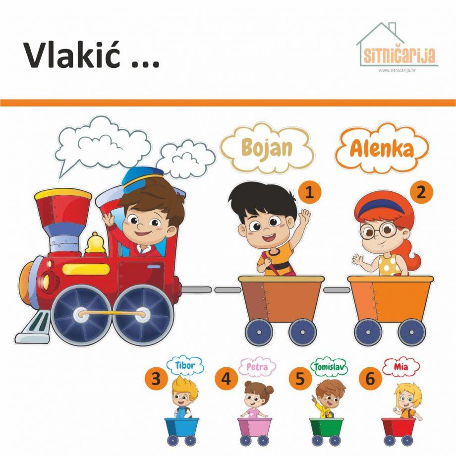 Naljepnice za vrata - Vlakić; serija naljepnica u obliku vlakića koji vuče 6 vagona s imenima djece