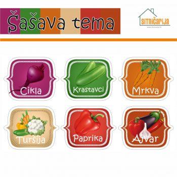 Naljepnice za zimnicu - Kisela zimnica - Šašava tema; serija naljepnica za 6 različitih vrsta kisele zimnice šarenih boja povrća