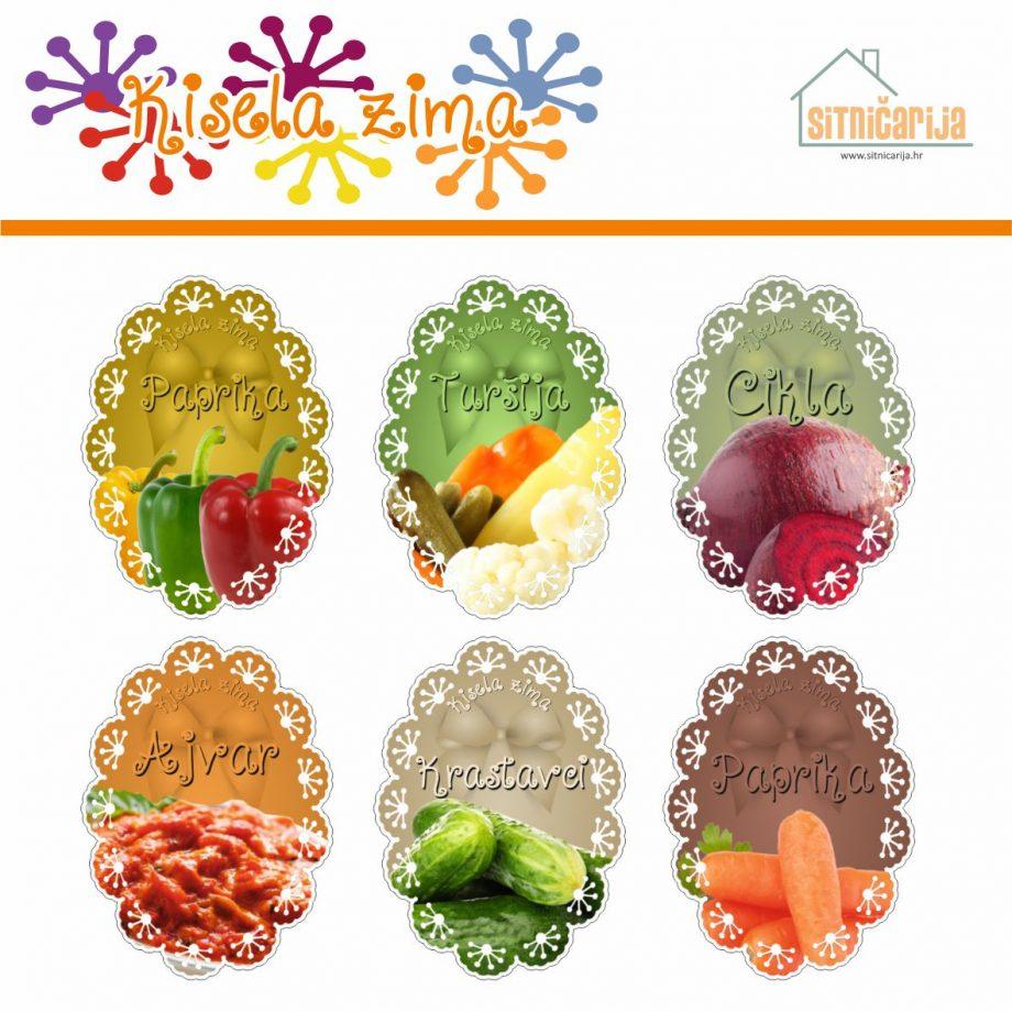 Naljepnice za zimnicu - Pekmez - Tema kisela zima u boji; serija naljepnica za 6 različitih vrsta kisele zimnice, mladenačkog dizajna sa slikama povrća
