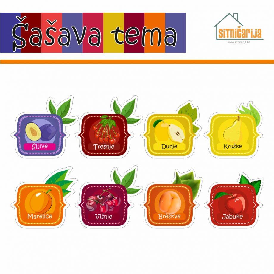 Naljepnice za zimnicu - Kompot - Šašava tema; serija naljepnica za 8 različitih vrsta kompota šarenih boja voća