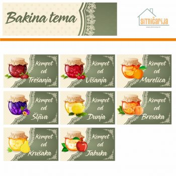 Naljepnice za zimnicu - Kompot - Bakina tema; serija naljepnica za 8 različitih vrsta kompota, nježnog i delikatnog dizajna