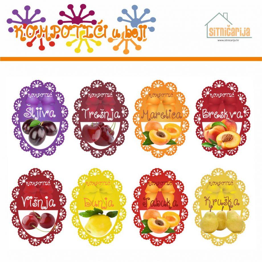 Naljepnice za zimnicu - Pekmez - Tema kompotići u boji; serija naljepnica za 8 različitih vrsta kompota, mladenačkog dizajna sa slikama voća