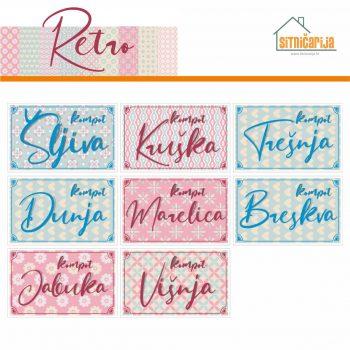 Naljepnice za zimnicu - Kompot - Retro tema; serija naljepnica nježnih i pastelnih uzoraka za 8 različitih vrsta kompota