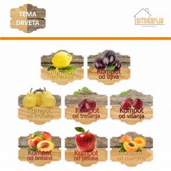 Naljepnice za zimnicu - Kompot - Tema drveta; serija naljepnica za 8 vrsta kompota. Dizajn je kombinacija dvije vrste drveta s fotografijama voća