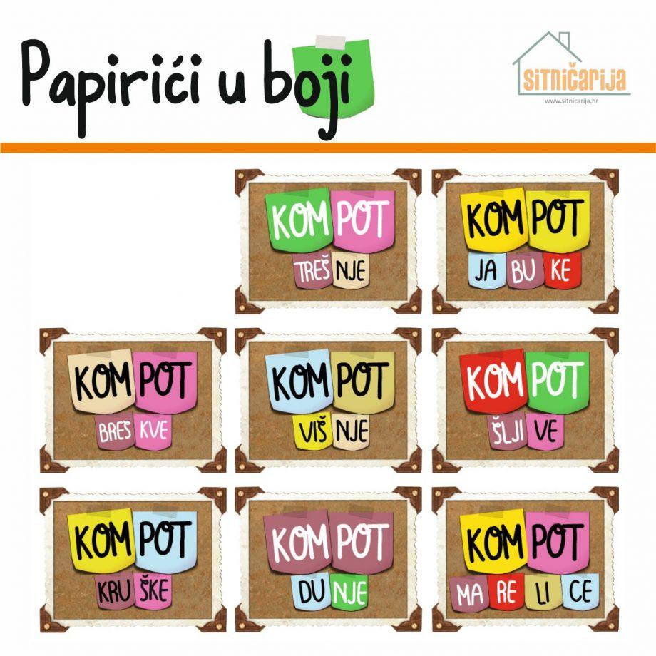 Naljepnice za zimnicu - Kompot - Tema papirići u boji; serija naljepnica za 8 različitih vrsta kompota. Naziv kompota je kombinacija raznobojnih post-it papirića