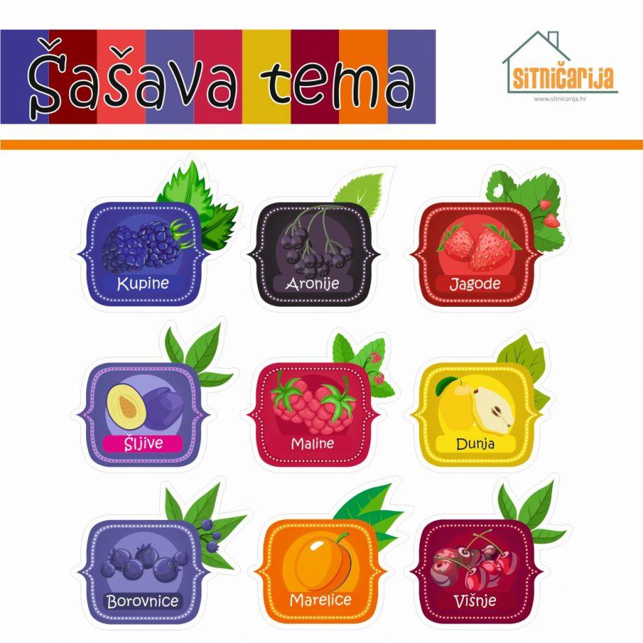 Naljepnice za zimnicu - Pekmez - Šašava tema; serija naljepnica za 9 različitih vrsta pekmez šarenih boja voća