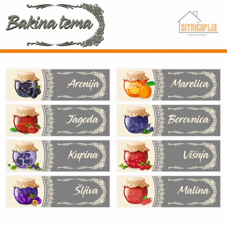 Naljepnice za zimnicu - Pekmez - Bakina tema; serija naljepnica za 9 različitih vrsta pekmeza, nježnog i delikatnog dizajna