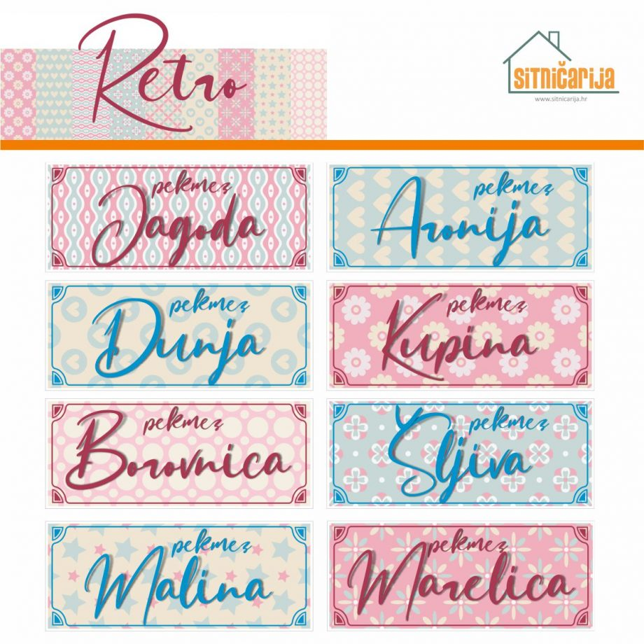 Naljepnice za zimnicu - Pekmez - Retro tema; serija naljepnica nježnih i pastelnih uzoraka za 9 različitih vrsta pekmeza