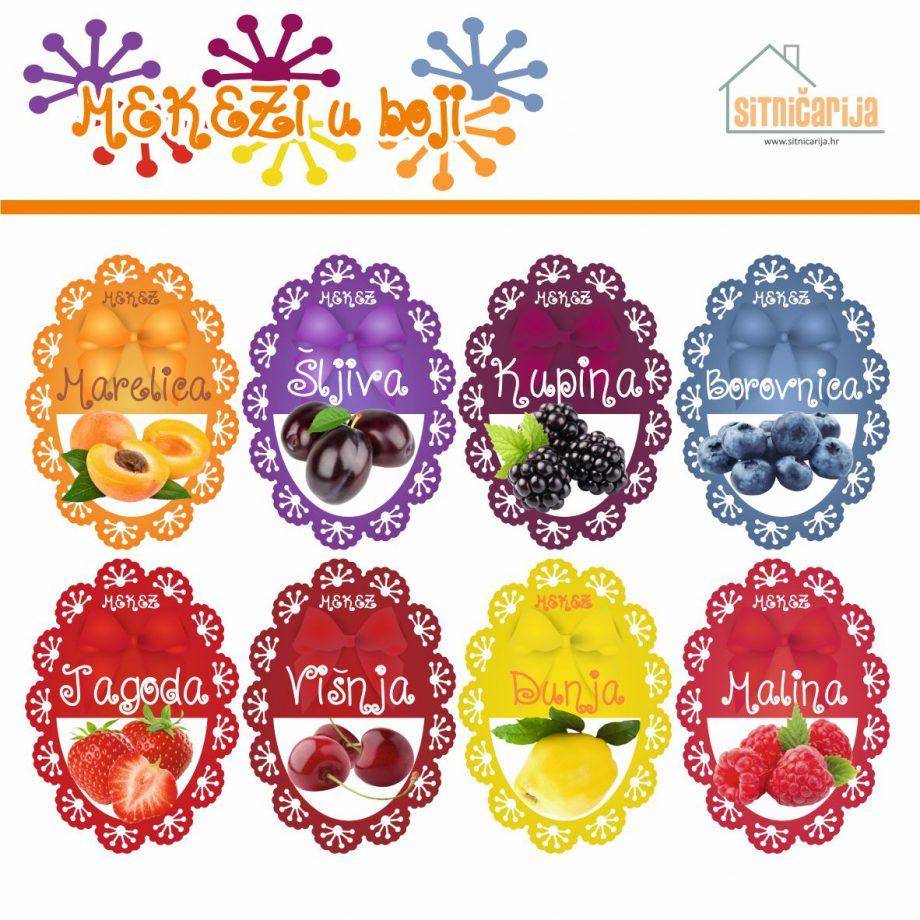 Naljepnice za zimnicu - Pekmez - Tema mekezi u boji; serija naljepnica za 9 različitih vrsta pekmeza, mladenačkog dizajna sa slikama voća