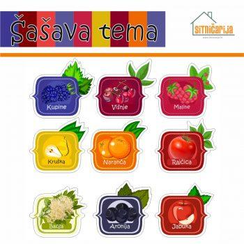 Naljepnice za zimnicu - Sokovi - Šašava tema; serija naljepnica za 9 različitih vrsta sokova šarenih boja voća