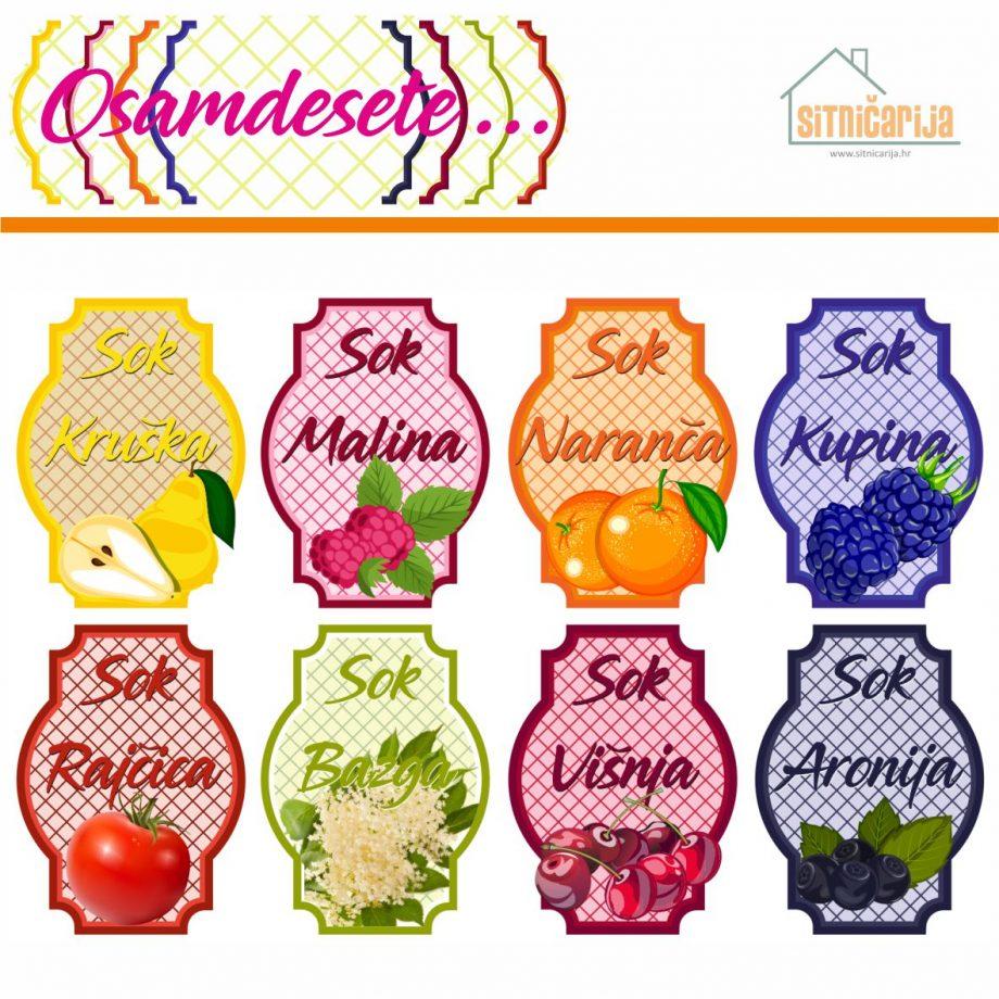 Naljepnice za zimnicu - Sokovi - Tema osamdesete; serija naljepnica za 9 vrsta sokova, svaka naljepnica je u boji i sa slikom voća od kojeg je sok napravljen
