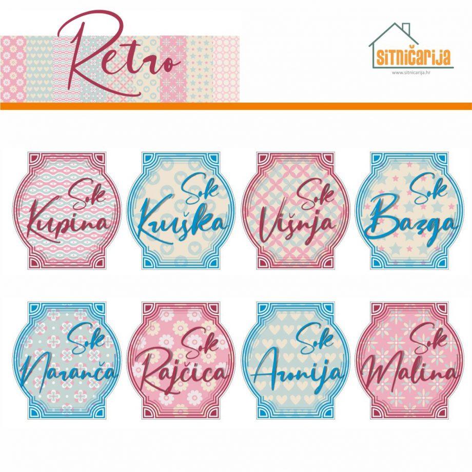 Naljepnice za zimnicu - Sokovi - Retro tema; serija naljepnica nježnih i pastelnih uzoraka za 9 različitih vrsta sokova