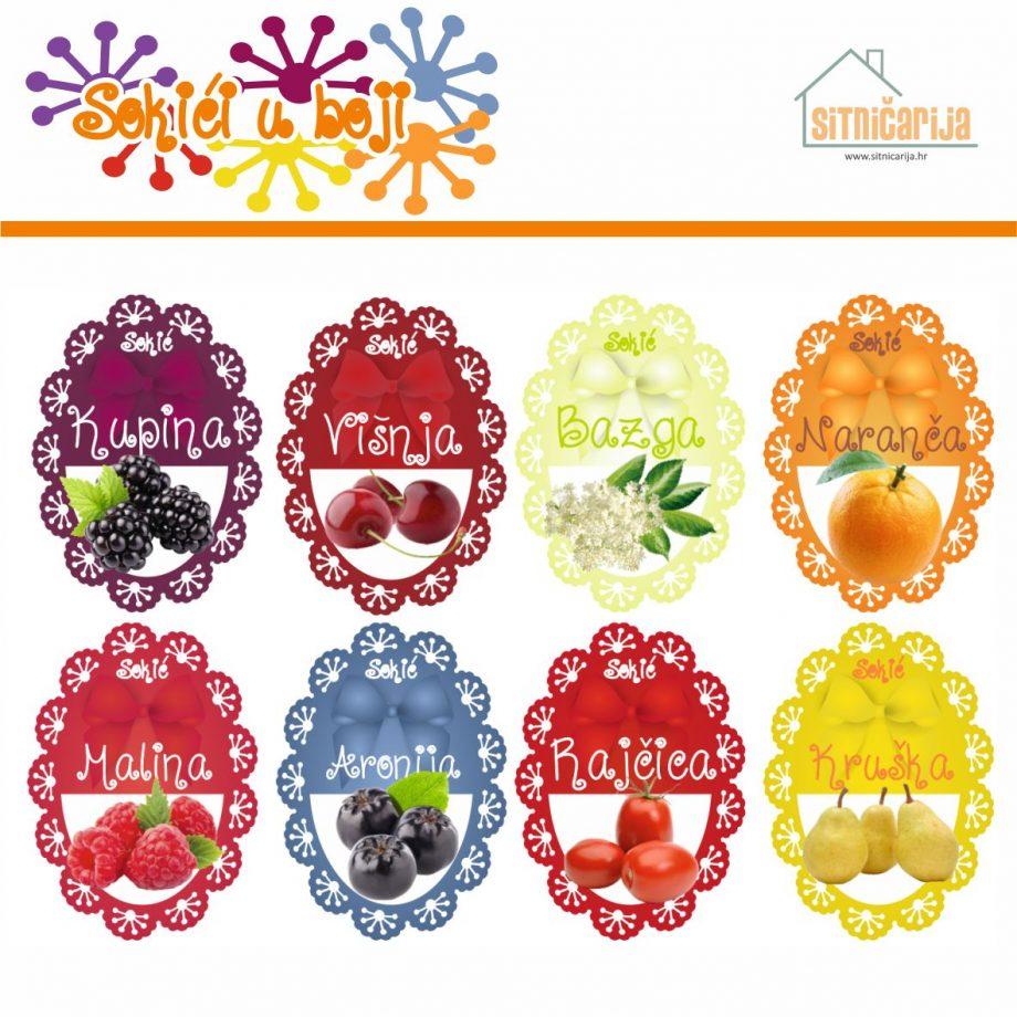 Naljepnice za zimnicu - Sokovi - Tema sokići u boji; serija naljepnica za 9 različitih vrsta sokova, mladenačkog dizajna sa slikama voća