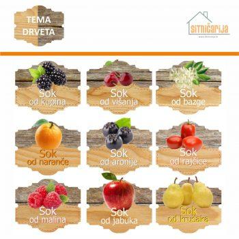 Naljepnice za zimnicu - Sokovi - Tema drveta; serija naljepnica za 9 vrsta sokova. Dizajn je kombinacija dvije vrste drveta s fotografijama voća