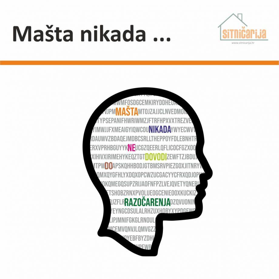 Naljepnica za zid - Mašta nikada predstavlja siluetu ljudske glave u kojoj je šarenim slovima napisana izreka