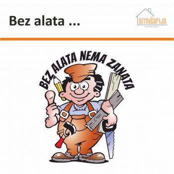 Naljepnica za zid Bez alata nema zanata sastoji se od ilustracije simpatičnog majstora koji u ruci drži alat i teksta poslovice iznad njegove glave