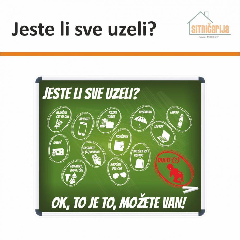 Naljepnica za zid - Jeste li sve uzeli? u obliku zelene oglasne ploče s ilustracijama u bijeloj boji 12 najčešćih predmeta koje zaboravljamo kad izlazimo iz kuće
