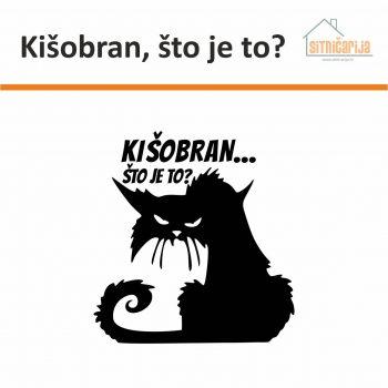 Naljepnica za zid - Kišobran, što je to? predstavlja ilustraciju pokislog i mrzovoljnog mačke iznad čije se glave nalazi natpis; mogućnost izbora boje naljepnice