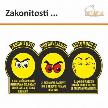 crna naljepnica s tri žuta smajlića koja ilustiraju zakonitosti popravljanja automobila
