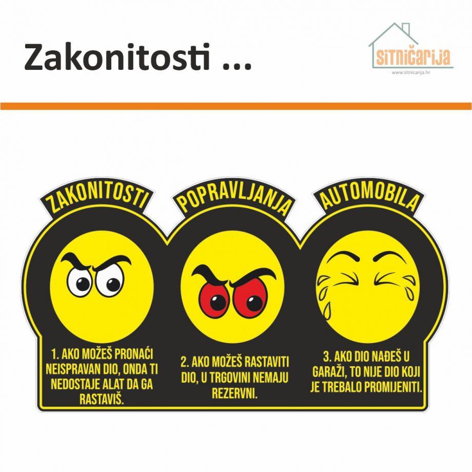 Naljepnica za zid - crna s tri žuta smajlića koja ilustiraju zakonitosti popravljanja automobila