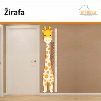 Naljepnice za mjerenje visine - Žirafa zalijepljena na zid uz vrata