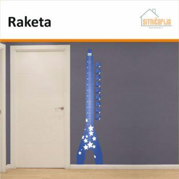 Naljepnica za mjerenje visine - Raketa na zidu uz vrata