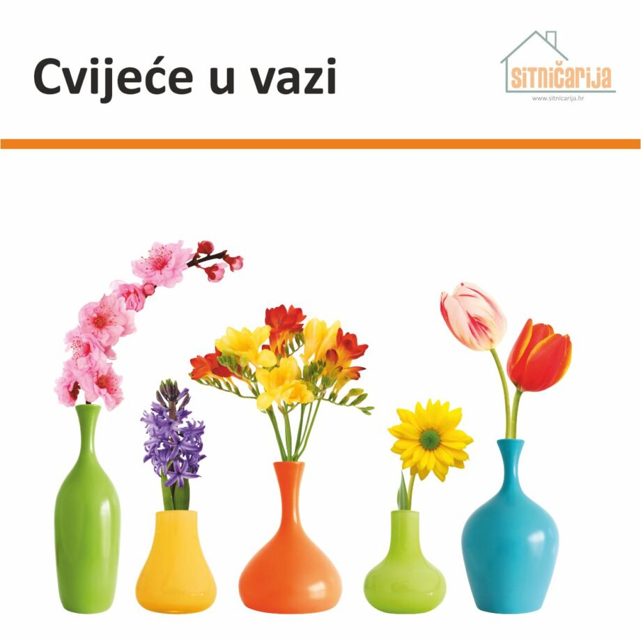 Naljepnica za prozore čini set od 5 vaza s proljetnim cvijećem