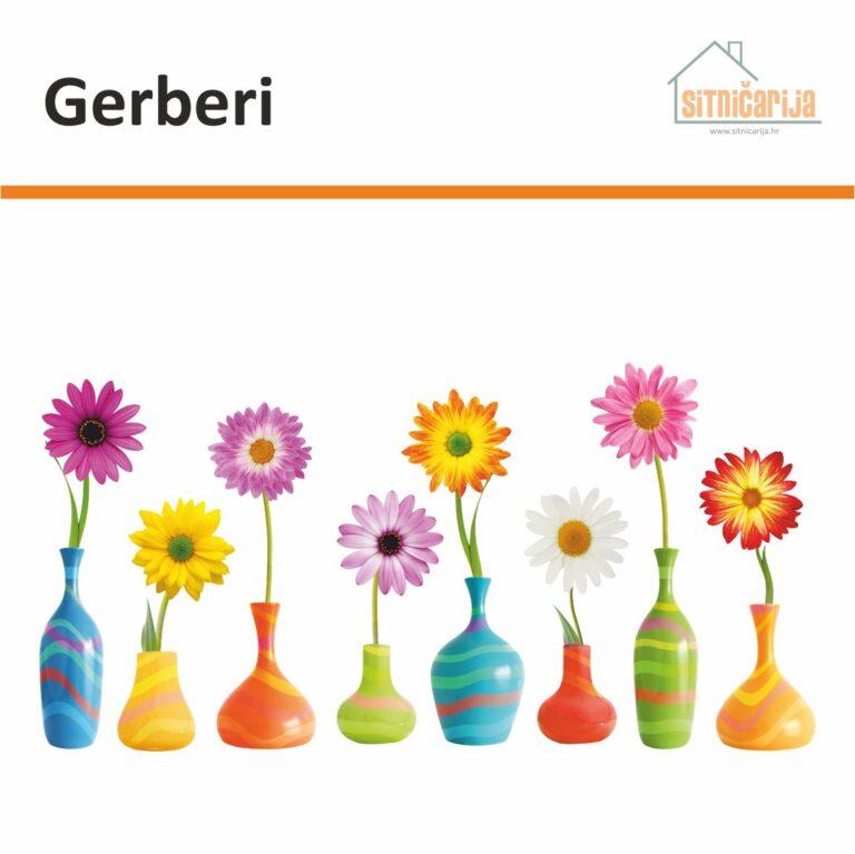 Naljepnica za prozore - Gerberi predstavlja 8 šarenih vaza sa po jednim gerberom u svakoj