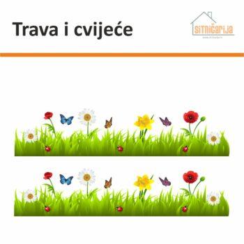 Naljepnice za prozore čine set od 2 trake travnate površine prošarane cvijećem