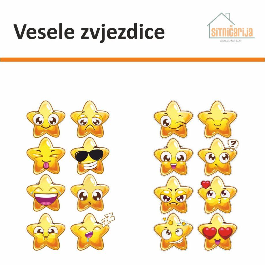 Naljepnica za prozore predstavlja set od 16 naljepnica u obliku zvjezdica koje prikazuju različita raspoloženja