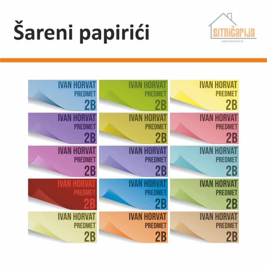 Naljepnice za knjige i bilježnice u obliku post-it papirića u 15 boja