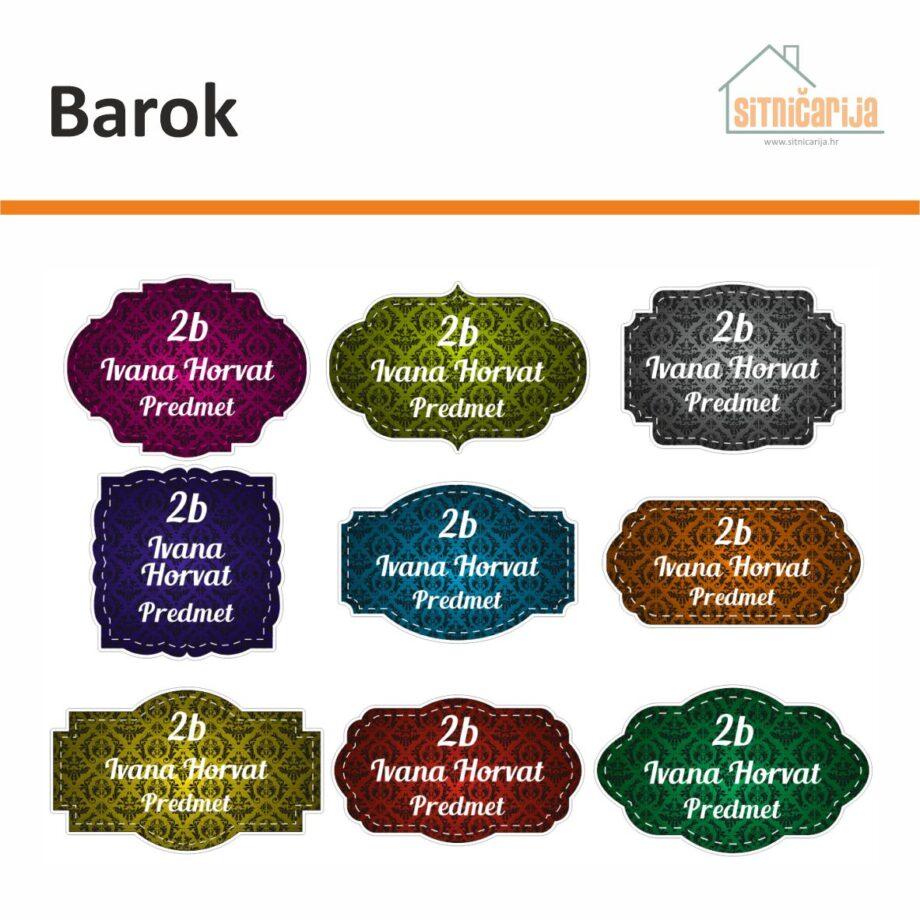 Naljepnice za knjige i bilježnice - Barok; serija od 9 naljepnica ornamentalnog uzorka tamnijih boja s bijelim slovima
