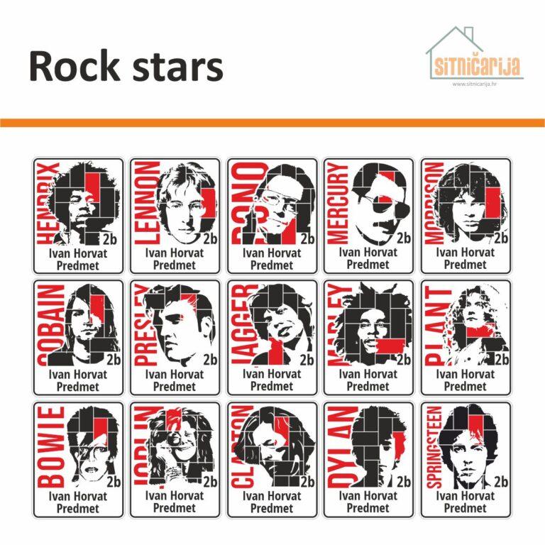Naljepnice za knjige i bilježnice - Rock stars; 15 crno-bijelih ilustracija poznatih rock zvijezda; ime zvijezde i pojedini detalji crvene boje