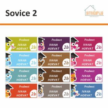 Naljepnice za knjige i bilježnice u 12 različitih boja s ilustracijama sove na svakoj