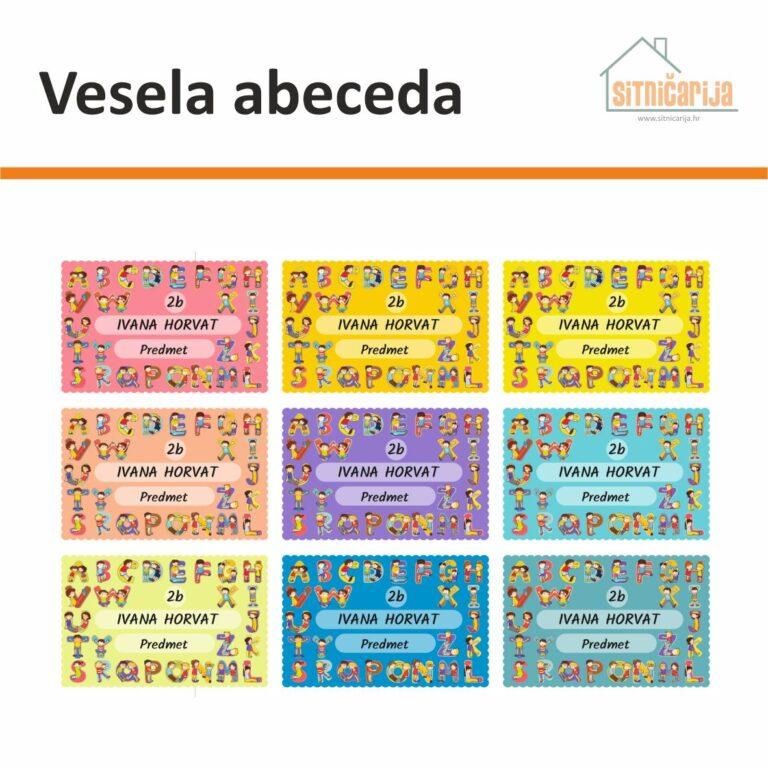 Naljepnice za knjige i bilježnice u 9 boja sa slovima engleske abecede na svakoj