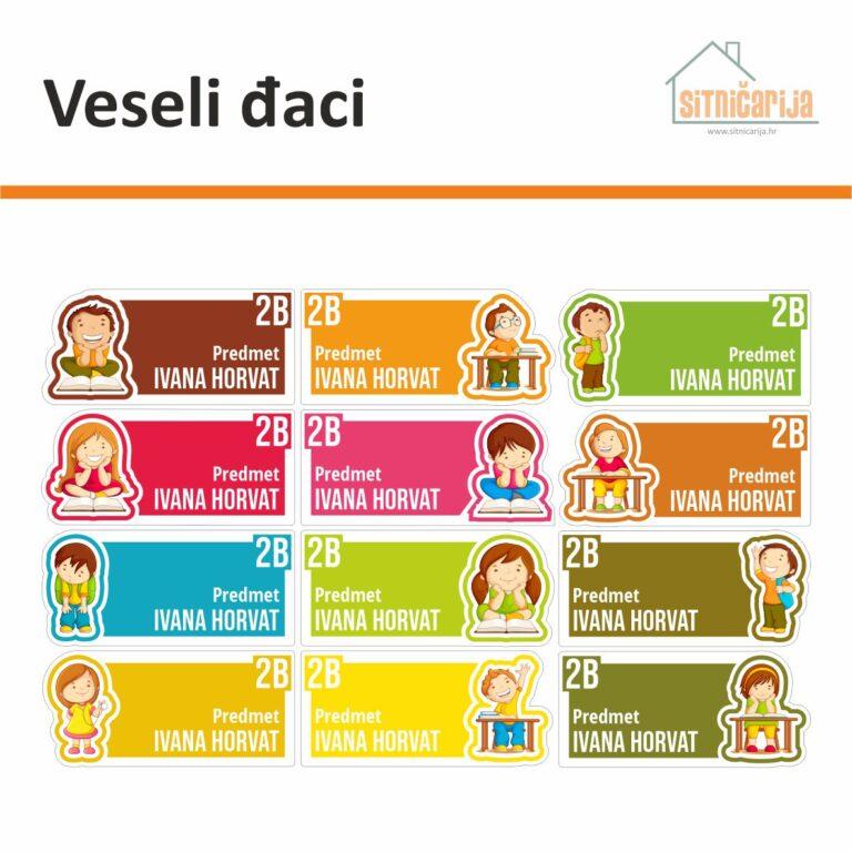 Naljepnice za knjige i bilježnice 12 različitih boja s ilustracijom po jednog učenika ili učenice na svakog