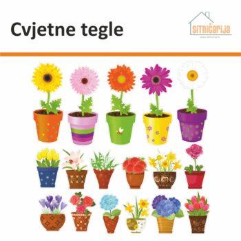 Male naljepnice za sve i svašta - Cvjetne tegle, set od 17 naljepnica u obliku šarenih tegli s raznim cvijećem