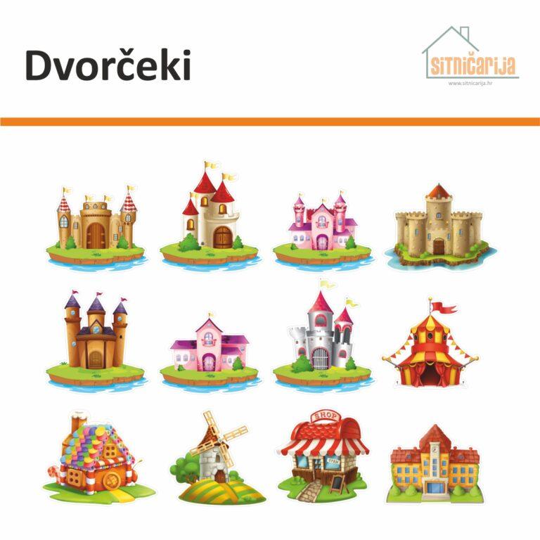 Male naljepnice za sve i svašta - Dvorčeki, set od 12 naljepnica u obliku dvoraca i građevina iz bajki