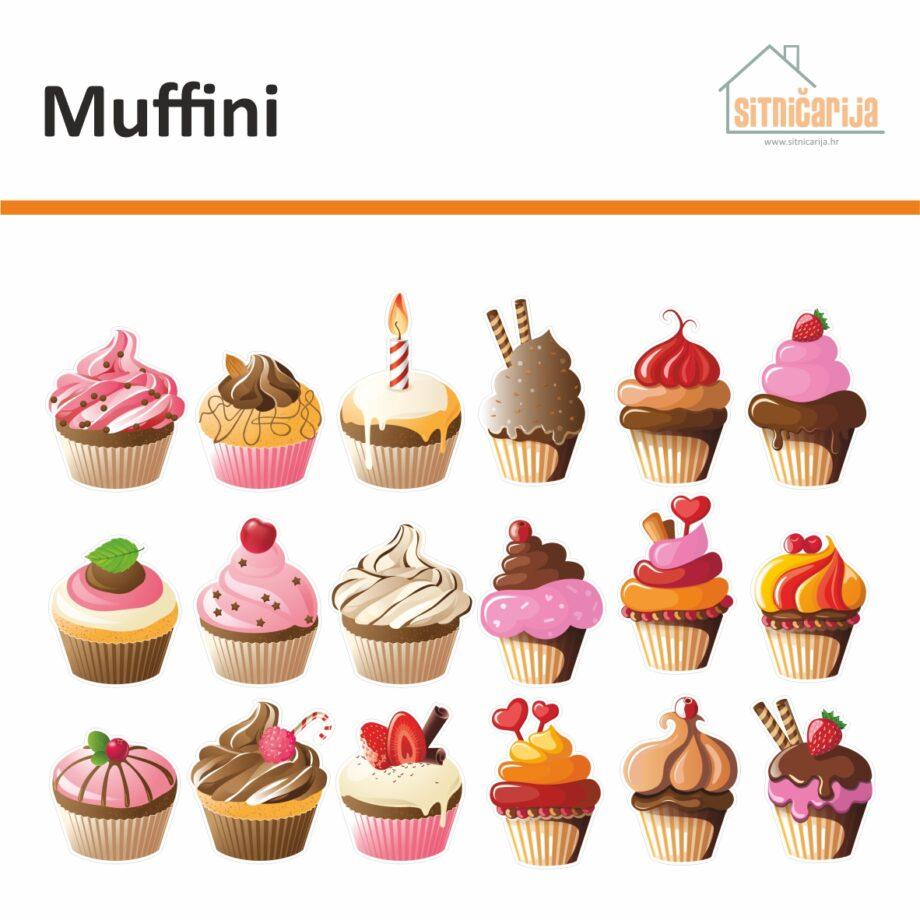 Male naljepnice za sve i svašta - Muffini, set od 18 naljepnica u obliku muffina ukrašenih čokoladom, voćem i šlagom