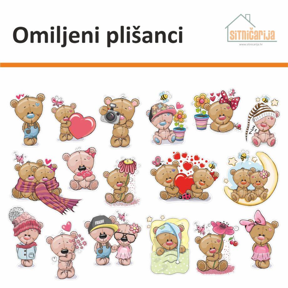 Male naljepnice za sve i svašta- Omiljeni plišanci, set od 17 naljepnica u obliku plišanih medvjedića u raznim situacijama
